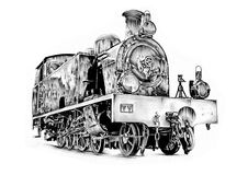 Steam engine art design drawing Royalty Free Stock Images