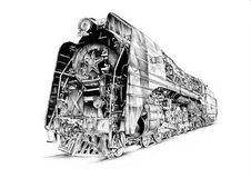 Steam engine art design drawing Stock Photo