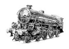 Steam engine art design drawing Stock Images