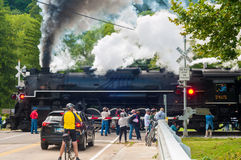 Steam engine crossing Stock Photos