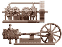 Steam engine front and side Stock Images