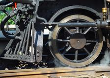 Steam engine front wheel Stock Photography