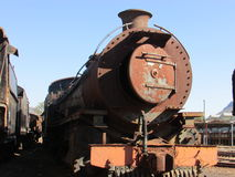 Steam Engine Graveyard in Queenstown Eastern Cape. We came across this steam engine graveyard, where there were rails of these beautiful monsters gone to rest Stock Photo