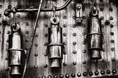 Steam Engine Grunge Detail with Pressure Valves Stock Images