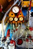 Steam engine with pipes and gauges Stock Photography