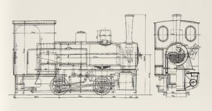 Steam-engine plan Royalty Free Stock Photography