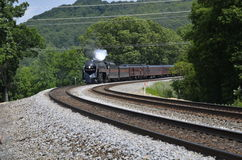 Steam engine. Restored steam engine chugs through Front Royal Virginia Royalty Free Stock Photo