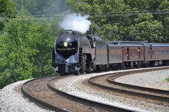 Steam engine. Restored steam engine chugs through Front Royal Virginia Stock Images