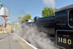 Steam engine on restored Swanage Railway Royalty Free Stock Photos