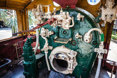 Steam engine room. A steam locomotive engine room with the boiler and valves Stock Photos