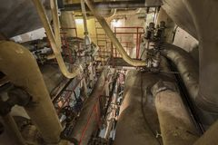 Steam engine room on multiple levels in Liberty Ship Stock Images