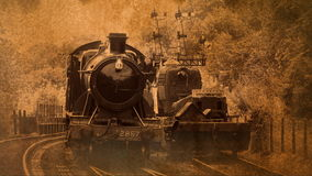 Steam engine running on track 4K stock footage