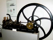 Steam engine in the technical museum of Vienne. Old car in the technical museum of Vienne. Collection car. Historical cars royalty free stock photo