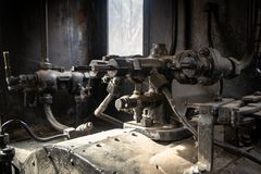 Steam engine for train stock image