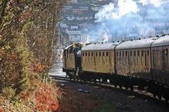 Steam engine. Steam train entering Kingswear in Devon Stock Photo