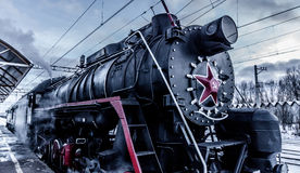 Steam Engine Train. On the piron royalty free stock image