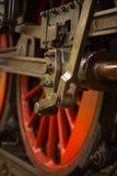 Steam engine wheel. Oiled steam engine train wheel. DOF Royalty Free Stock Images