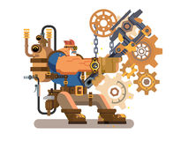 Steam engineer working. Steam engineer. Worker engineering, repairman and wrench, heat and flame, boiler machine, flat vector illustration vector illustration