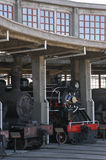Steam engines. Old steam engines in the railway industry in Temuco Chile stock image