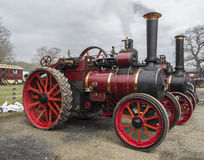 Steam engines smoking. Several old steam engines with smoke Royalty Free Stock Images