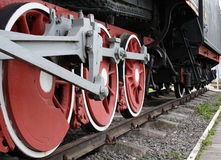 Steam-engines wheels. Red wheels of steam-engines Stock Image
