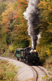 Steam enginge in the fall. Shay engine number 6 climbs Cheat Mountain near Cass, West Virginia Stock Image
