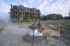 Steam escaping from manhole with chair, Detroit, Michigan royalty free stock image