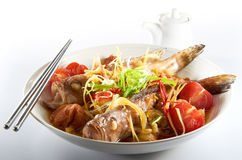 Steam Fish. Oriental home cook steam fish with tomato and sour plum stock images