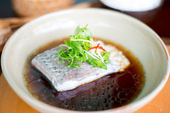 Steam fish in soy sauce. Stock Photography