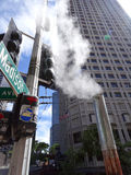 Steam flows out of pipe on Madison street in Downtown Seattle Stock Image