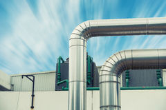 Steam insulation pipeline at corner., Steam pipeline. Stock Images