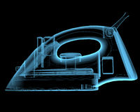 Steam iron. (3D x-ray blue transparent isolated on black Royalty Free Stock Photography