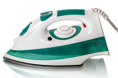 Steam iron on white Stock Photos