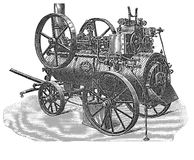 Steam locomobile,black and white engraving. Vintage technology, steam powered locomobile Royalty Free Stock Photos
