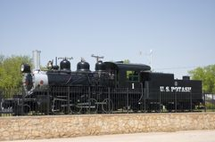 Steam locomotive. United States Potash locomotive was used on a narrow gauge railroad to carry potash from the mines to the mill,located east of Carlsbad, New royalty free stock photography