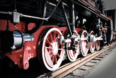 Steam locomotive. Wheels of vintage steam locomotive Royalty Free Stock Photos