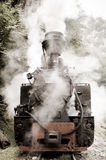Steam Locomotive. Puffing steam locomotive that still works. Such functional vintage locomotives are very few, but they still can be found in Maramures, Romania royalty free stock image