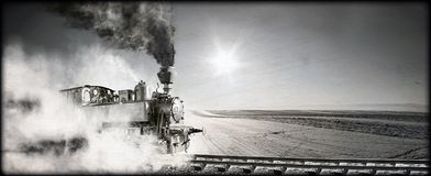 Steam locomotive. At the railway wrapped up in cloud - vintage retro tinting stock photos