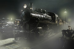 Steam locomotive. Stopped at the station waiting for passengers