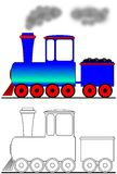 Steam locomotive. Pictures for colouring Royalty Free Stock Photography