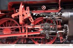 Steam locomotive. Wheels of a steam locomotive - details Stock Photos