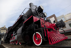 Steam locomotive. Closeup of wheels of an antique steam locomotive and train engine Royalty Free Stock Photos