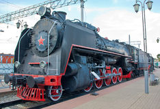 Steam Locomotive. At a railway station Royalty Free Stock Photos