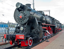 Steam Locomotive. At a railway station Stock Photos
