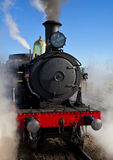 Steam locomotive 3016 at Canberra Railway Station. Getting up steam for trip to Bungendore Royalty Free Stock Photo