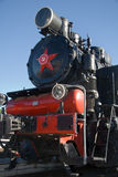 Steam locomotive. Old Russian steam locomotive at the railway station stock image