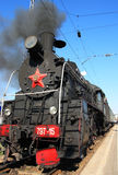 Steam locomotive. In the railway station Royalty Free Stock Photography