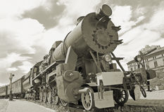 Steam locomotive. The old steam locomotive in Riga depot Royalty Free Stock Image