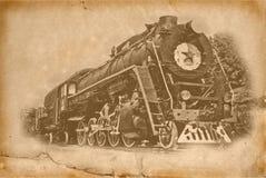 Steam locomotive. Vintage image effect using old torn paper stock images
