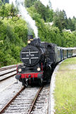 Steam locomotive. Old steam train composition stock photo